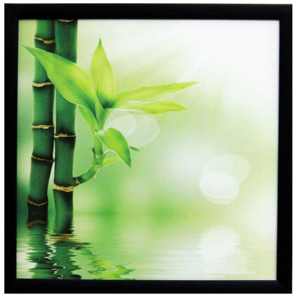 3D Beautiful Plant Design Satin Matt Texture Art Print In Green and White - EC-HJRDW3JL26