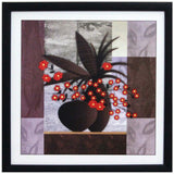 Abstract Pot and Flower Theme Satin Matt Texture Art Print In Multi Color - EC-HJRDW3JL30