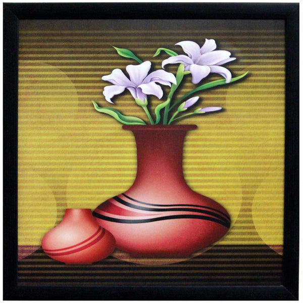 Abstract Pot and Flower Theme Satin Matt Texture Art Print In Multi Color - EC-HJRDW3JL32