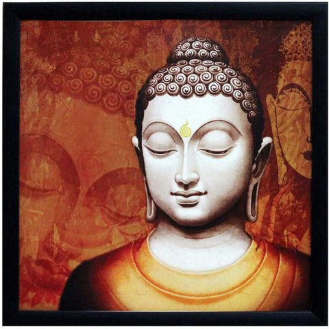 Meditating Buddha Design Satin Matt Texture Art Print In Red and Orange - EC-HJRDW3JL37