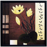 Beautiful Yellow Flower Satin Matt Texture Art Print In Black and Yellow - EC-HJRDW3JL41