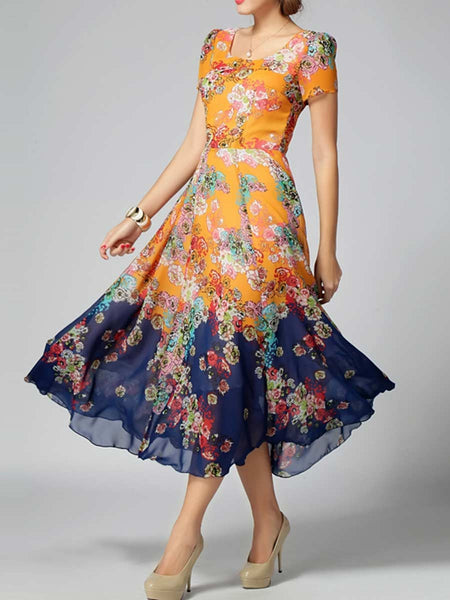 Orange Blue Satin Printed Kurti From Surat - TA-ASGK20SP4