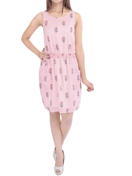 Cotton Cambric Easy Slip On Dress In Pink - GP-AJRD19SP2