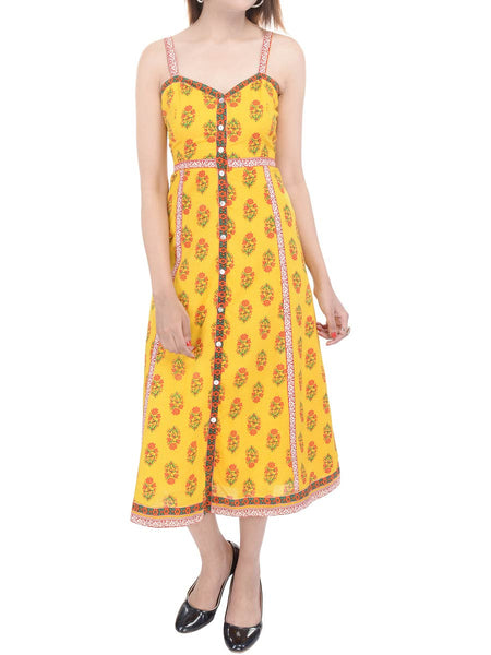 Cotton Cambric Sunny Floral Midi Dress In Yellow - GP-AJRD19SP13