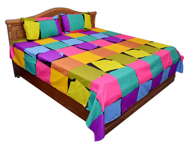 Multicolor Printed Cotton Double Bedsheet With 2 Pillow Cover - GV-KDBS28OCT2
