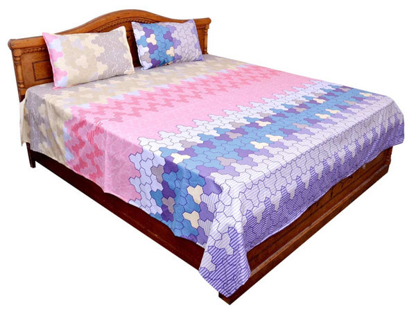 Geometric Print Cotton Double Bedsheet With 2 Pillow Cover - GV-KDBS10NR5