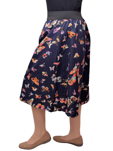 Jaipuri Palazzo Pants In Butterfly Navy Blue Base - GV-PJRTPMG1AG5