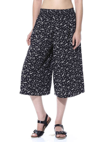 Black & White Music Print Culotte From Jaipur - GV-PJRCG24APL3