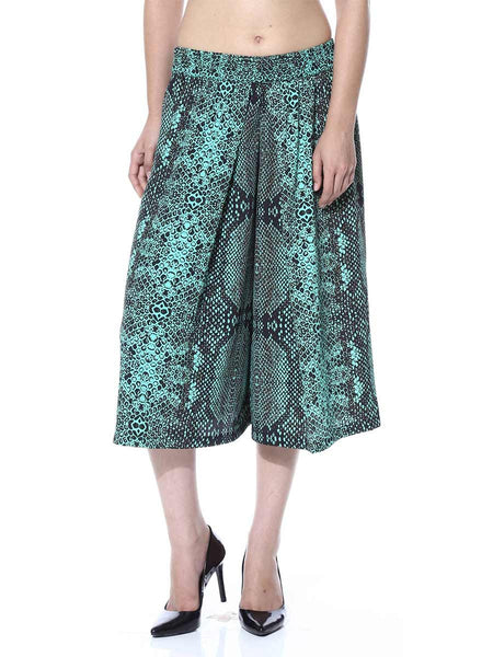 Green Animal Print Culotte From Jaipur - GV-PJRCG24APL5