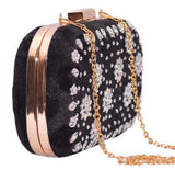 Black Embroidery Clutch From Mumbai - GDCB23JY4