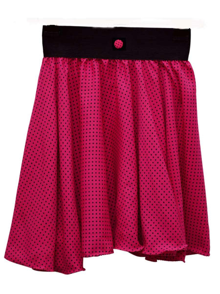 Jaipuri Printed Short Skirt In Pink with Black Dot - RKPSSG20JN2