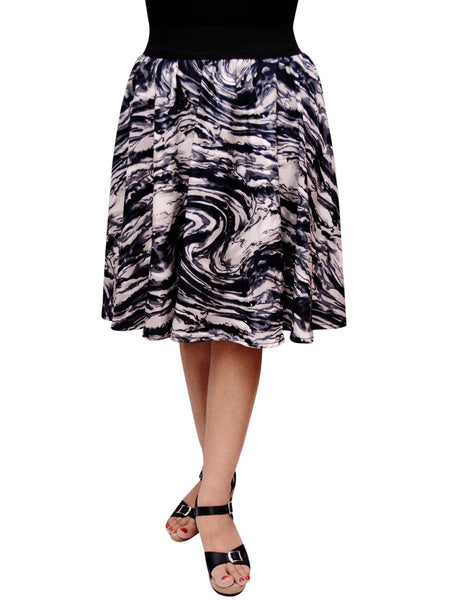 Jaipuri Printed Short Skirt In Grey Swirl Print - RKPSSG20JN6