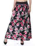 Elastic Skirt From Jaipur In Pink Rose Black Base - GV-PJRSEG20APL8