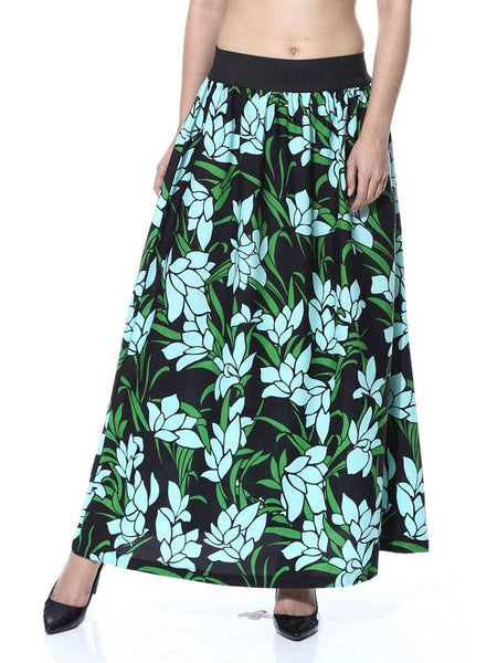Elastic Skirt From Jaipur In Green Floral Leaf - GV-PJRSEG20APL13