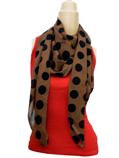 Brown Polka Print Stole From Delhi - GV-CDDG10NR4