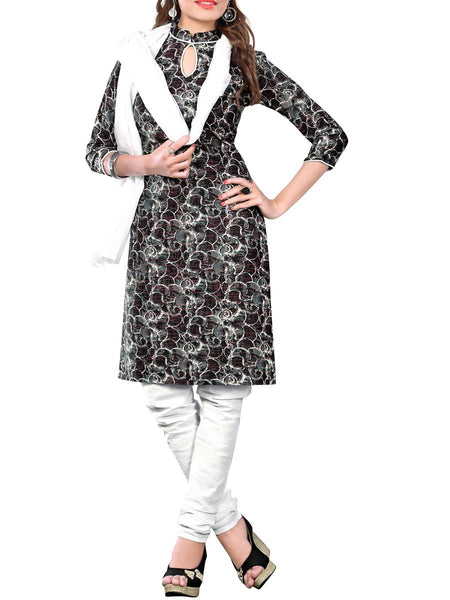 Cotton Suit From Kolkata In Black & White - FPKWA16JN33