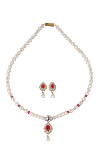 Pearl Set With Red Stone - CHTN25AG34