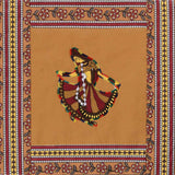 Dancing Lady Embroidery Cotton Brown Diwan Set with 5 Cushion Covers & 2 Bolster Covers - EC-DDQD25MA2