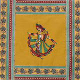Dancing Lady Embroidery Cotton Green Diwan Set with 5 Cushion Covers & 2 Bolster Covers - EC-DDQD25MA4