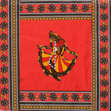 Dancing Lady Embroidery Cotton Red Diwan Set with 5 Cushion Covers & 2 Bolster Covers - EC-DDQD25MA6