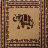 Elephant Embroidery Cotton Cream Diwan Set with 5 Cushion Covers & 2 Bolster Covers - EC-DDQD25MA17