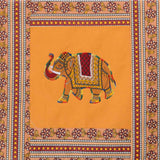 Elephant Embroidery Cotton Yellow Diwan Set with 5 Cushion Covers & 2 Bolster Covers - EC-DDQD25MA21