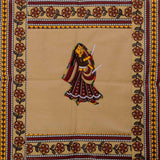 Dandiya Couple Embroidery Cotton Cream Diwan Set with 5 Cushion Covers & 2 Bolster Covers - EC-DDQD25MA24
