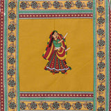 Dandiya Couple Embroidery Cotton Green Diwan Set with 5 Cushion Covers & 2 Bolster Covers - EC-DDQD25MA25