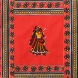 Dandiya Couple Embroidery Cotton Red Diwan Set with 5 Cushion Covers & 2 Bolster Covers - EC-DDQD25MA27