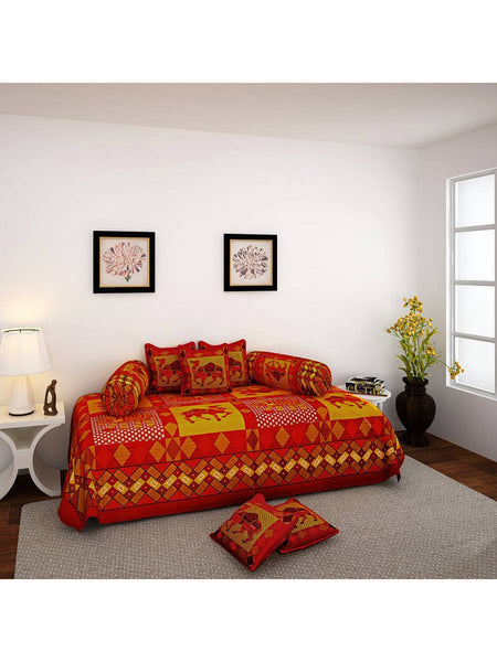 Camel Pattern Cotton Diwan Set with 5 Cushion Covers & 2 Bolster Covers - EC-DDQD25MA63