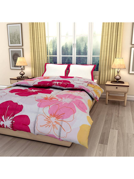 Pink Flower Single Bed Reversible Ac Comforter - EC-DDQ25MA80