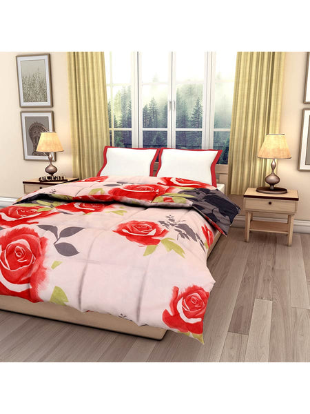 Pink Floral Printed Single Bed Reversible Ac Comforter - EC-DDQ25MA227