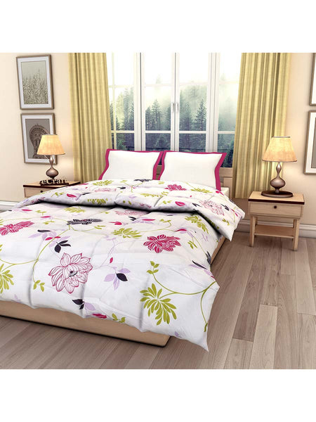 White Floral Printed Single Bed Reversible Ac Comforter - EC-DDQ25MA228