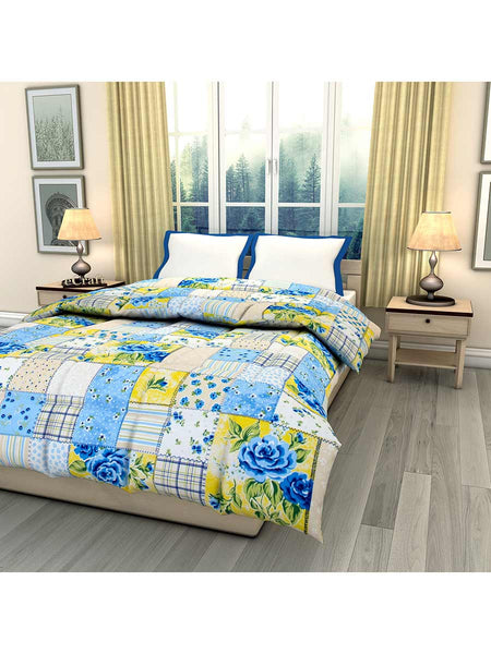 Blue Floral Printed Single Bed Reversible Ac Comforter - EC-DDQ25MA229