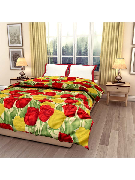 Red And Yellow Rose Printed Single Bed Reversible Ac Comforter - EC-DDQ25MA232