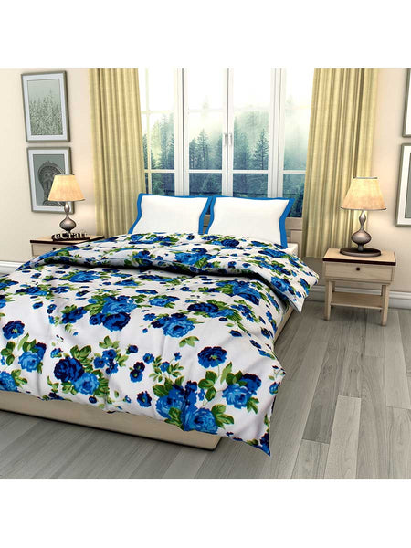 Blue Floral Printed Single Bed Reversible Ac Comforter - EC-DDQ25MA238