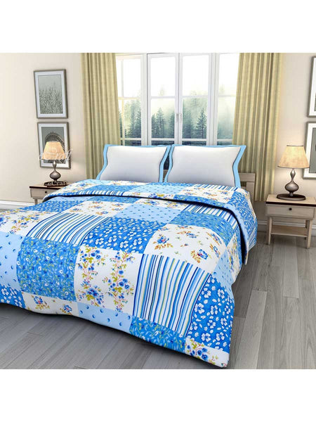 Blue Floral Printed Single Bed Reversible Ac Blanket - EC-DDQ25MA128