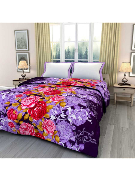 Purple And Red Floral Printed Single Bed Reversible Ac Blanket - EC-DDQ25MA129