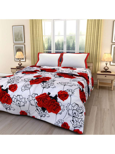Red Rose Printed Single Bed Reversible Ac Blanket - EC-DDQ25MA136