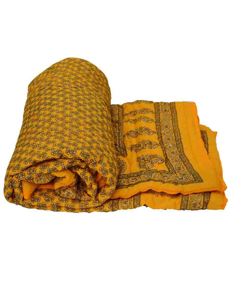 Single Bed Jaipuri Cotton Quilt In Yellow-EC-DRJQ16D3