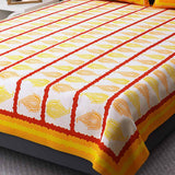 Jaipuri Block Printed Yellow Cotton Double Bedsheet With 2 Pillow Cover - EC-KDBS25MA183