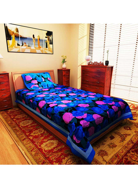Rosy Floral Blue Cotton Single Bedsheet With 1 Pillow Cover - EC-KDBS25MA31