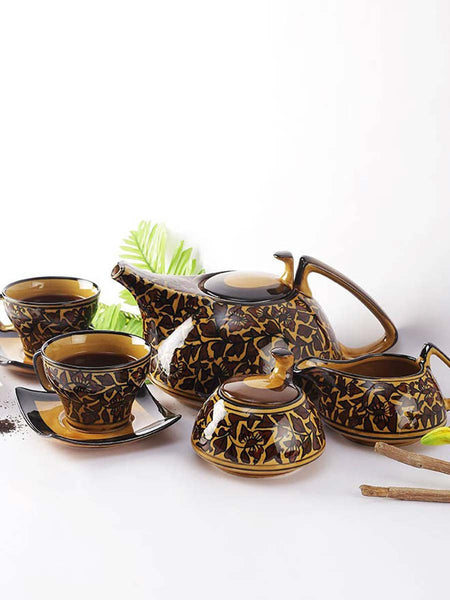 Ceramic Mughal Handpainted Brown Tea Set (15 Pcs.) - UR-IHUTC7JN343