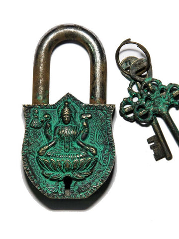 Lakshmi  Green Coated Brass Lock - UR-IHULD7JN175