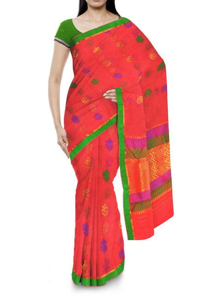 Kota Doria Handloom Saree From Kota In Orange - IA-PKRSA2AG15