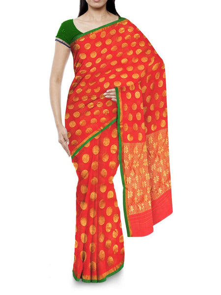 Kota Doria Handloom Saree From Kota In Orange - IA-PKRSA2AG6