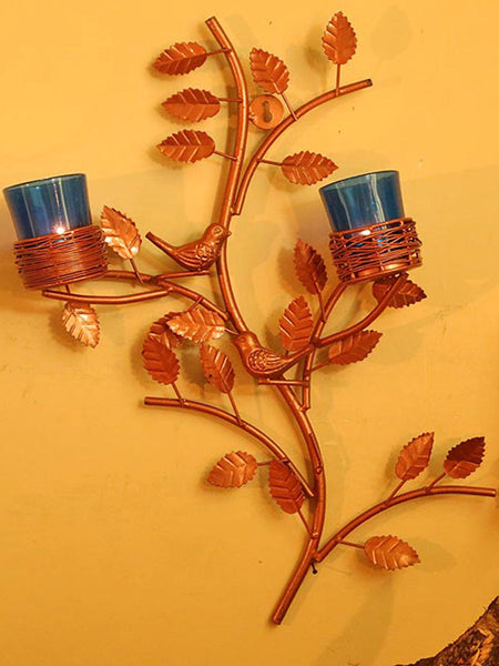 Copper Tree With Bird Nest Blue Votive Stand - HS-DWH27JL1