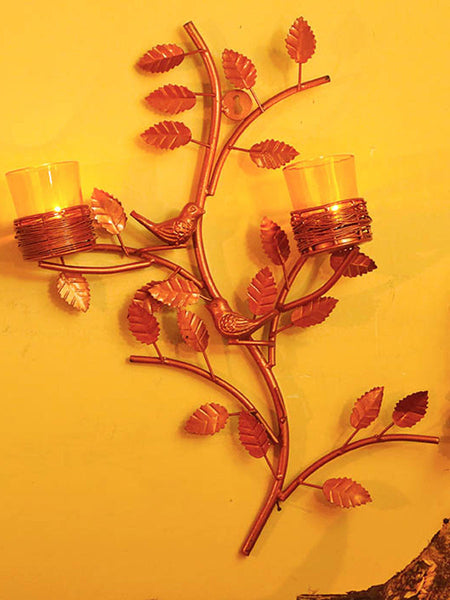 Copper Tree With Bird Nest Yellow Votive Stand - HS-DWH27JL5