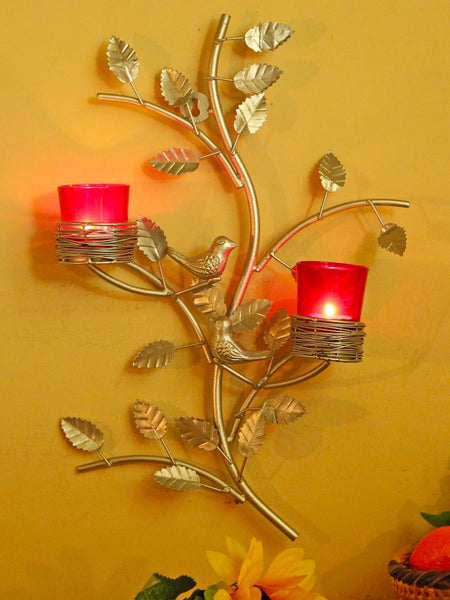 Silver Tree With Bird Nest Red Votive Stand - HS-DWH27JL8