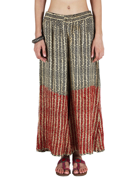 Chikankari Embroidered Fusion Palazzo Pants from Lucknow In Multicolour - VD-APLUP30JY9